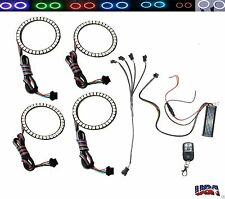 (4) 80mm 15 Color LED Angel Eye Accent Rings + Wireless Remote Light Kit ZX14R