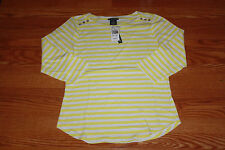 NWT Womens CHELSEA & THEODORE White Yellow Boat Neck Blouse 3/4 Sleeve Shirt XL