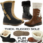 WOMENS LADIES FLAT FUR LINED MID CALF WINTER WELLINGTON SNOW BOOTS SHOES SIZE
