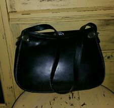 VINTAGE SACHA BLACK LEATHER SHOULDER BAG HORSEBIT HANDBAG EQUESTRIAN PURSE