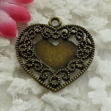Free Ship 26 pieces bronze plated heart pendant 30x29mm #1324