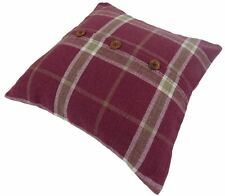 "TARTAN CHECK STRIPE WOOL LOOK FEEL RASPBERRY RED CUSHION COVER 18"" - 45CM #LAP"
