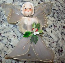 Cute Vintage China Head Christmas Angel Tree Topper by Delta Novelty