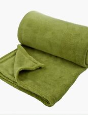 Lime Green Micro Plush Throw Luxury Rich Soft Sofa Bed Runner Fleece Blanket 180