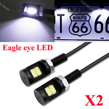 2x 12V Motorcycle Rearview Mirror Eagle Eye 2 LED No Flash Light DRL Super White