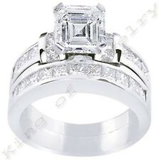 2.78 Ct. Asscher Cut Diamond Engagement Bridal Set