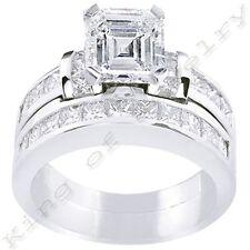 2.78 Ct. Asscher Cut Diamond Engagement Bridal Set
