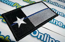 Texas State Flag Patch with Subdued Blue Line Theme Tactical Iron- On