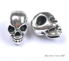 20Pcs Tibetan Silver Skull Spacer Charms Beads Jewelry Findings 13X10MM BE40