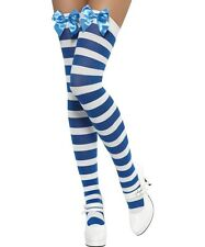 Sexy Smiffy's Opaque Blue and White Striped Thigh-High Stockings w Blue Bow
