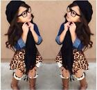 New 3PCS Baby Girls Clothes Denim Shirt Leopard Skirt Black Scarf Outfits 2-8Y