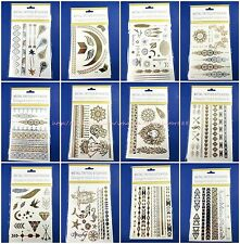 12 sheets flash gold silver Bohemian Tattoos Body Makeup temporary tattoo