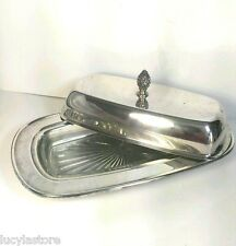 Vintage Oneida Butter Covered Dish Silverplated & glass holder Holloware USA 3pc