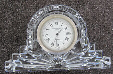 WATERFORD mantle CLOCK crystal TIME battery QUARTZ black GREY ireland HANDS art