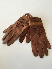 Van Raalte Perforated Supple Leather Driving Gloves XS Buckskin Band Warm Cognac