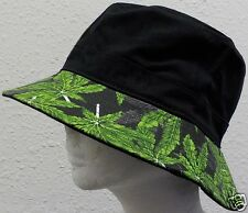 MARIJUANA LEAF POT HEMP KUSH PLANT CANNABIS CHRONIC WEED SWAG BUCKET CAP HAT S/M