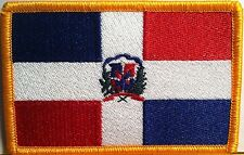 REPUBLICA DOMINICANA FLAG  Iron- On Patch  Military Dominican Emblem Gold Border