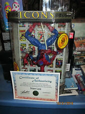 MARVEL LEGENDS ICONS SPIDER-MAN 12 INCH SIGNED STAN LEE UPSIDE DOWN COA