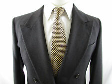 Vintage GIORGIO ARMANI Gray Striped WOOL Blazer Double Breasted Men's Size 39S