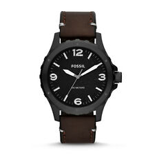 Fossil Men's JR1450 Nate Analog Black Dial Brown Leather Watch