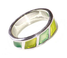 Exotic & Sublime Translucent Lime & Leaf Green/ Chrome Metal Hand Ring(Zx187)