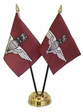 PARACHUTE REGIMENT X 2 TABLE FLAG SET flags plus GOLDEN BASE BRITISH MILITARY