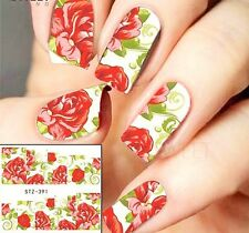 Nail Art Water Decals Stickers Decoration Red Roses Flowers Gel Polish (391)