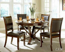 NEW 5PC HELENA WARM BROWN CHERRY FINISH WOOD ROUND DINING TABLE SET KITCHEN