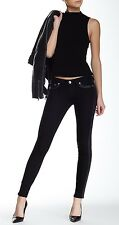 New True Religion Black Skinny Legging 25x31 Jeans Faux Leather Contrast 24 Slim