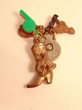 Older key chain with metal cowboy boot fob and 5 other charms - metal man, etc