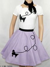 3PC LAVENDER 50's Poodle Skirt outfits Girl Sizes 7,8,9