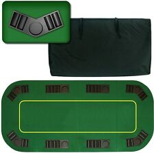 """Poker Folding Table Top 80"""" inch Texas Hold'em 8 Player Green Table and Chip"""