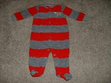 Carter's Baby Boys Fleece Striped Moose Pajamas Sleeper Size 6 Months 6M Winter