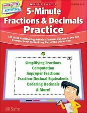 5 minute Fractions & Decimals Math Practice + CD for Smartboard Grade 4 5 6 7 8