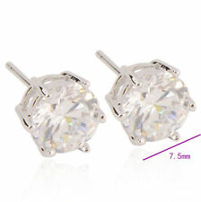 Silver Womens Mens Boys White Gold Filled Round Crystal Punk Stud Earrings Lot