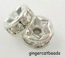 20 x Resin Rhinestone Spacer Beads - Rondelle - 10mm - Clear