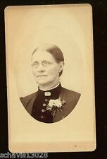 Turn of Century Old CDV Photograph Wonderful Crisp Image Woman Gold Rim Glasses