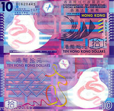 HONG KONG 10 Dollars Banknote World Currency Money BILL Asia Polymer Note p401c