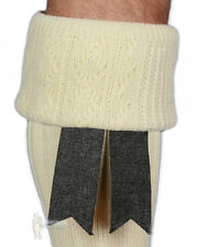 PURE WOOL SCOTTISH KILT HOSE (SOCK) FLASHES - GRAY - GREAT VALUE!