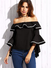 Black Striped Trim Off The Shoulder Ruffle Women's Tunic Top Blouse One Size