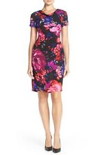 ADRIANNA PAPELL FLORAL PLEAT CREPE SHEATH DRESS sz 12