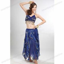 Sexy Womens Sequins Dancing Costume Padding Top Bra Folded Lace Coins Belly 01