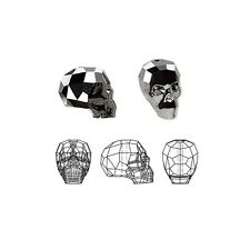 Swarovski Crystal Beads Faceted Skull 5750 Silver Night 2X 19x18x14mm
