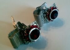 Classic Costume Jewelry RUBY Red RHINESTONE Mesh Wrap Cufflinks Round Square