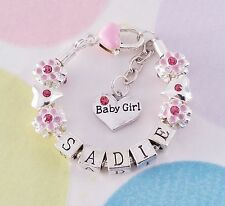 Silver Plated Name Bracelet. Newborn Baby Girl.  Any Name, Charm or Size