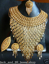 22K Gold Plated Indian Wedding Necklace Rani Haar Finger Ring Tikka Jewelry Set