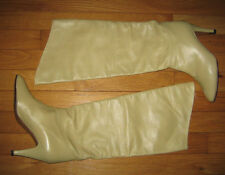 VINTAGE KIDSKIN LEATHER TALL BOOTS IN MINT/ LIGHT GREEN 37 6.5 ITALY GORGEOUS