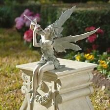 Joyful Flute Playing Fairy Sitting Statue Garden Pixie Sculpture