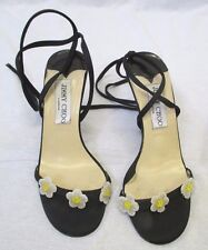 JIMMY CHOO Black Satin Ankle Tie Sandals with Beaded Flowers at Front - Size 35
