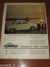 *=ALFA ROMEO DAUPHINE=1961=PUBBLICITA'=ADVERTISING=WERBUNG=PUBLICITE=